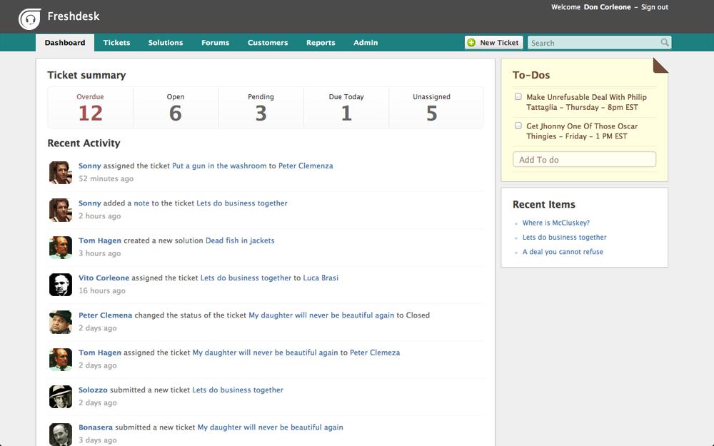 Lihat sebagai bagian Freshdesk UI tampak seperti