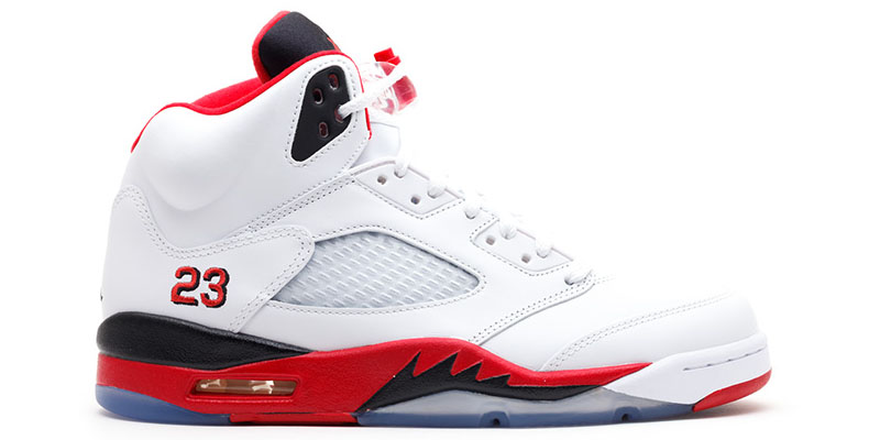 "Released in 1990, the Air Jordan V is the fifth signature sneakers of MJ.  This pair was designed by Tinker Hatfield. The shoes originally had ""Nike  Air"" ..."