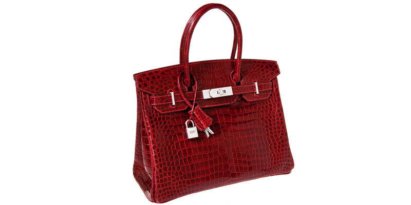 Hermes Exceptional Collection Shiny Rouge H Porosus Crocodile 30 cm Birkin Bag with Solid 18K White Gold & Diamond Hardware