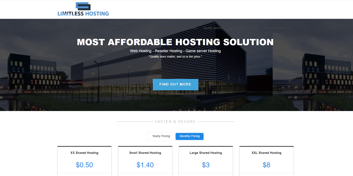 Limitless Hosting Lowest Pricing Its 0 50 Monthly Price Includes 10 Gb Storage Support And 100 Gb Bandwidth For A Single Domain A Years Worth Of Hosting