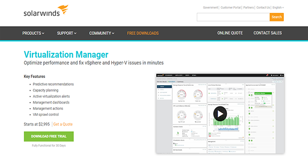 SolarWinds Virtualization Manager Reviews: Overview, Pricing, Features