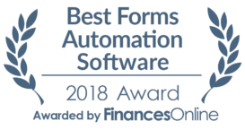 This award is given to the best product in our forms automation software category. It highlights its superior quality and underlines the fact that it's a leader on the market.