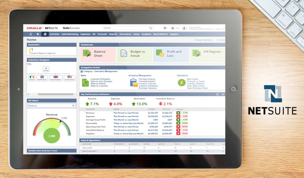netsuite erp dashboard example