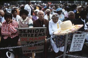 African-American seniors protest high taxes unemployment