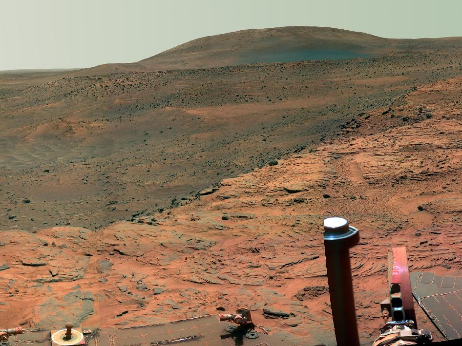 NASA image of Martian homeplate captured by Mars Rover Spirit shows landforms and surfaces similar to Earth
