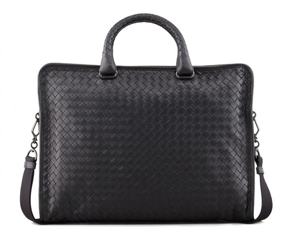 Enter the Veneta Softie Slim Woven Briefcase from Bottega. Fashioned from  the best black woven leather 41142ddc8f110